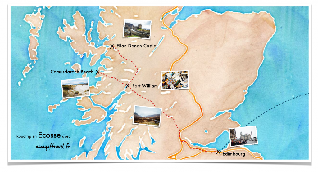 Map visiter carte Ecosse roadtrip centre d'interet