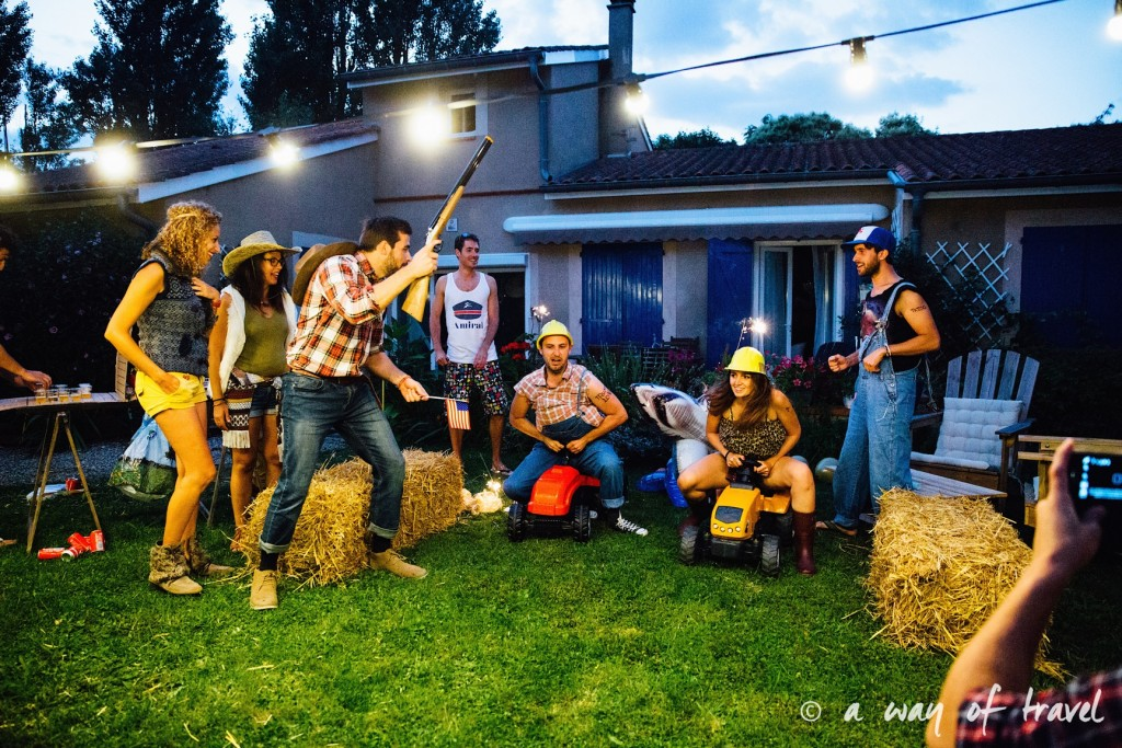 soiree deguisee redneck battle shot diy tuto american cinema plein air 20