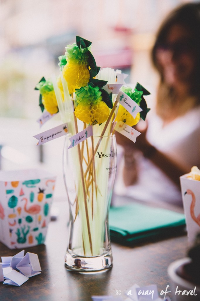 Anniversaire thème ananas tropical flamant rose vasco toulouse bar 30 ans 24